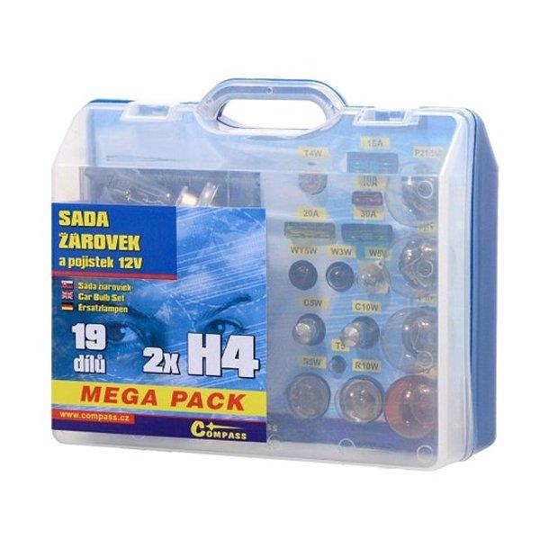 Mega boks med Pærer 12V boks  H4 + H4 + sikringer