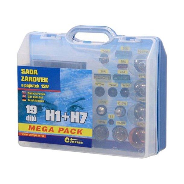 Mega pack med Pærer 12V H1 + H7 + sikringer