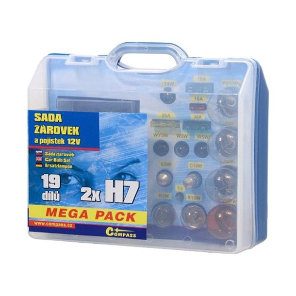 Mega boks med Pærer 12V  H7 + H7 + sikringer