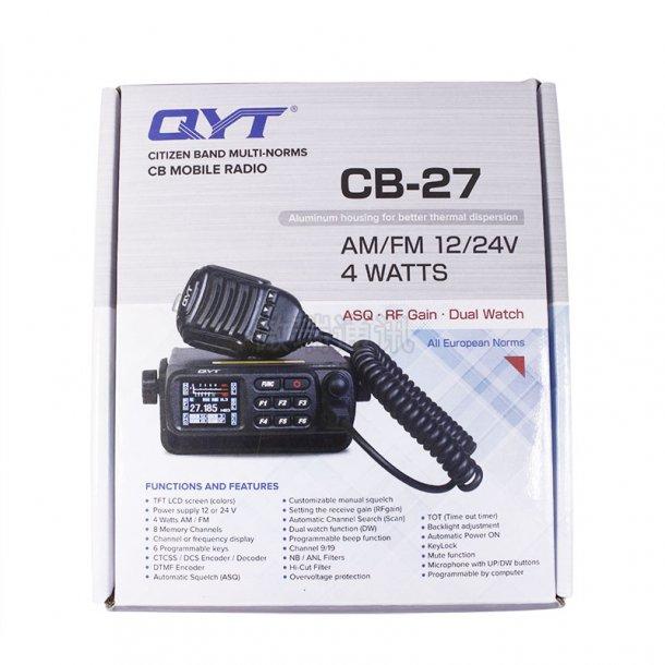 QYT CB-27 12 og 24 vol bobilpakke med bobilantenne