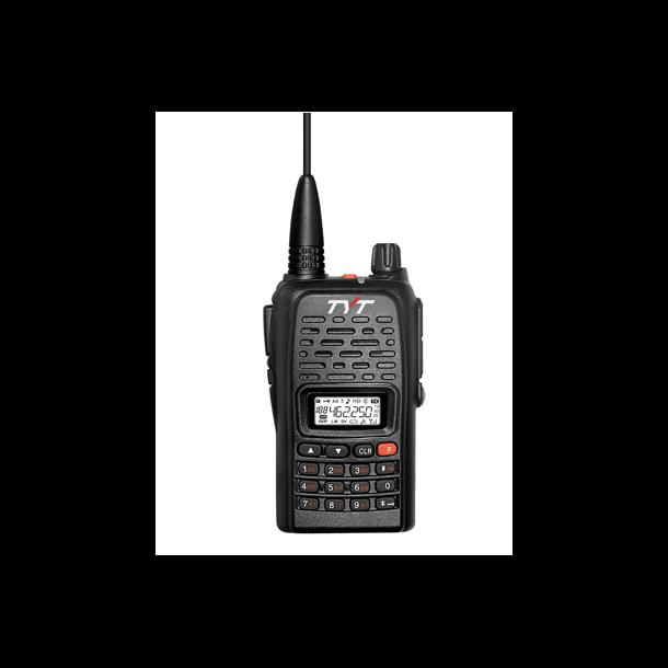 Jaktradio TYT 800 VHF farge sort, Med jeger øremick og gummiantenne