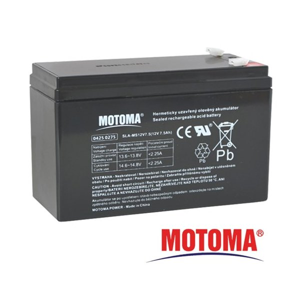 Sealed lead acid battery 12V 7,5Ah MOTOMA (terminal 4,75 mm)