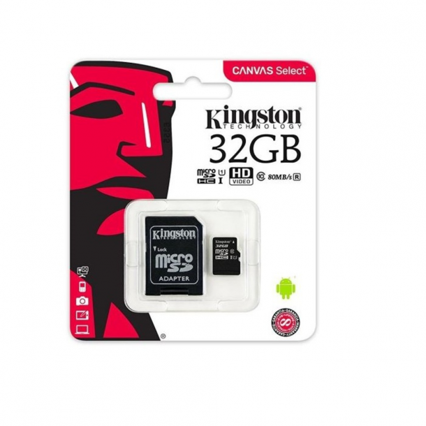 Kingston memory card microSDHC 32 GB, UHS-I, class 10 with adapter