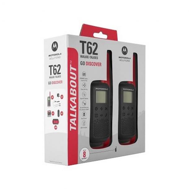 Motorola Talkabout T62 twin-pack + lader rød