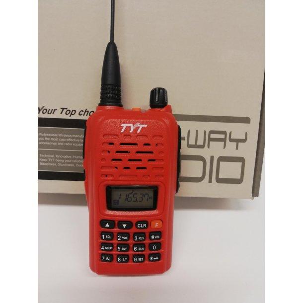 Jaktradio TYT 800 VHF farge rød, Med jeger øremick og gummiantenne